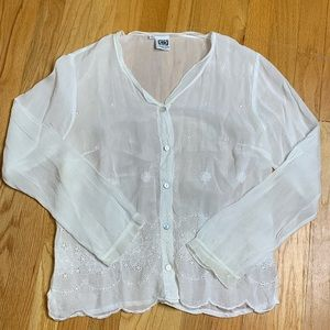 Johnny Was White Eyelet Embroidered Blouse Shirt